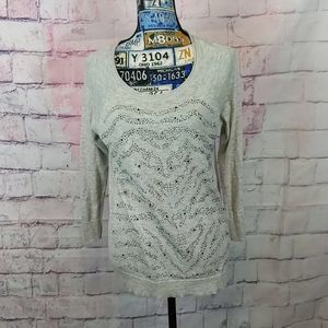 Apt 9 gray sweater with beads size small